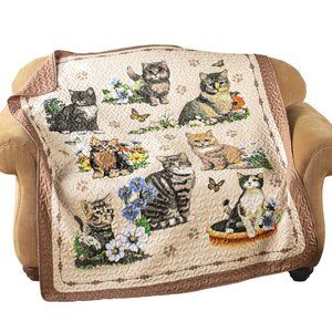 Quilted Throw Blanket, Charming Cat / Kitten